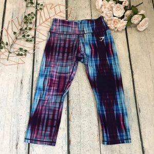 Gymshark medium tie dye blue leggings crops active